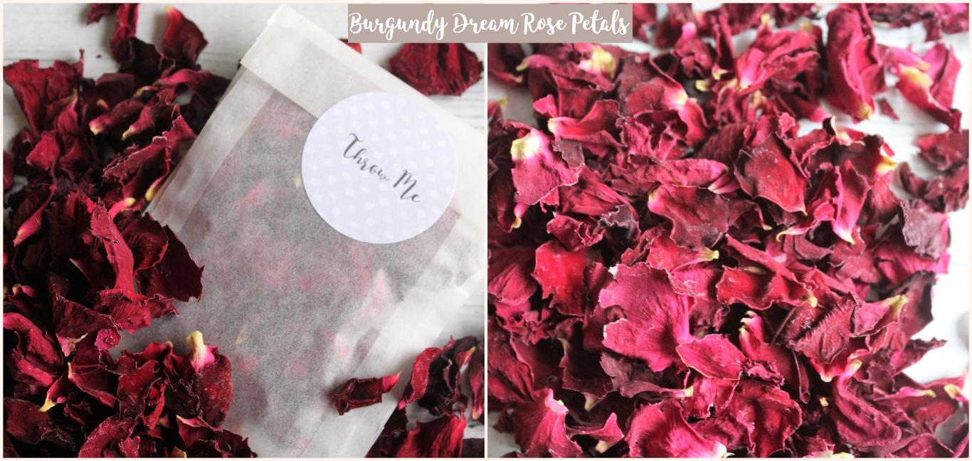 Natural biodegradable confetti petals for wedding confetti //decor Burgundy blush