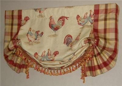 Custom French Country Balloon VALANCE Curtain Red Gold Rooster Toile Plaid  Trim | Valance Curtains, Red Gold And Valance
