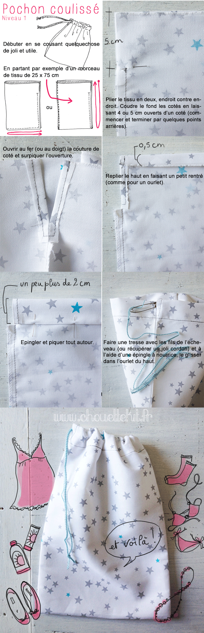 diy pochon couliss couture sacs pinterest sac cordon sacs main mk et sacs. Black Bedroom Furniture Sets. Home Design Ideas