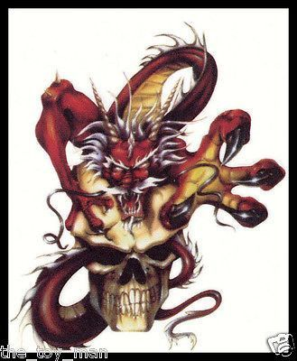 Tribal red devil demon beast dragon skull temporary body tattoo sticker for men