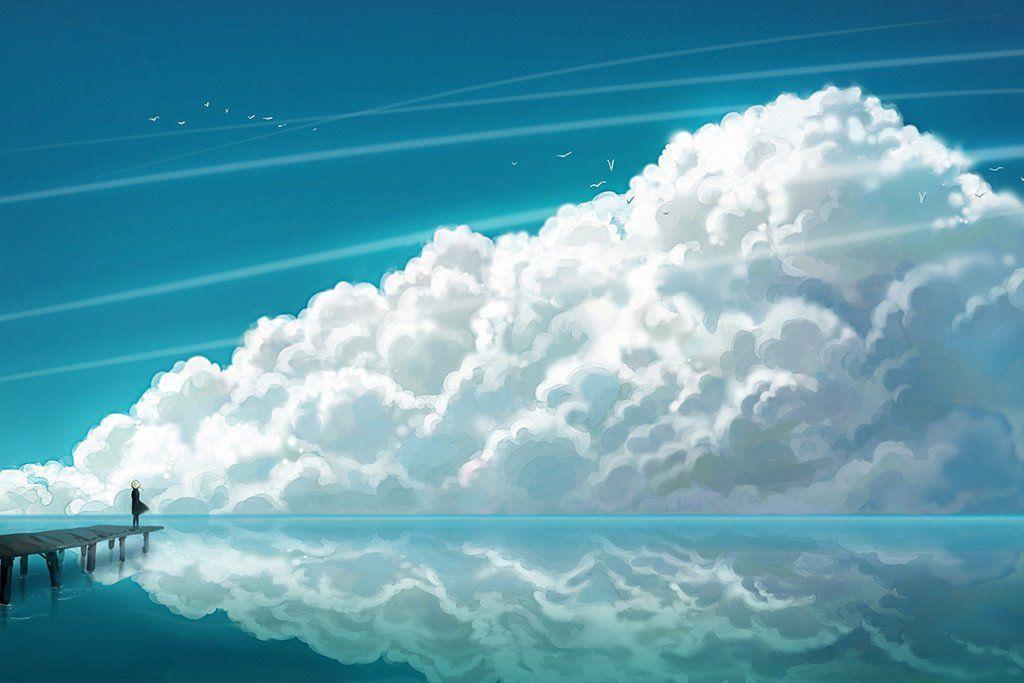 Girl sea clouds anime manga poster anime scenery