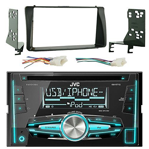 jvc kwr710 double din bluetooth cd mp3 player stereo receiver bundle combo  with metra 2din installation dash kit wiring radio harness wireless handset  for