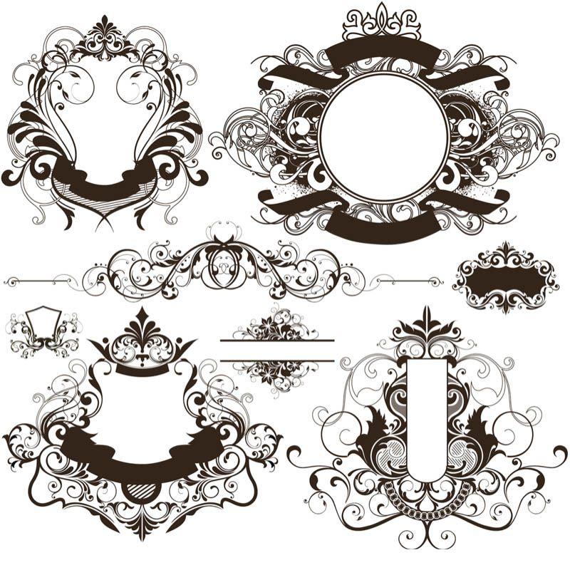 vintage ornate frames vector set 3 set of 8 vector vintage ornate