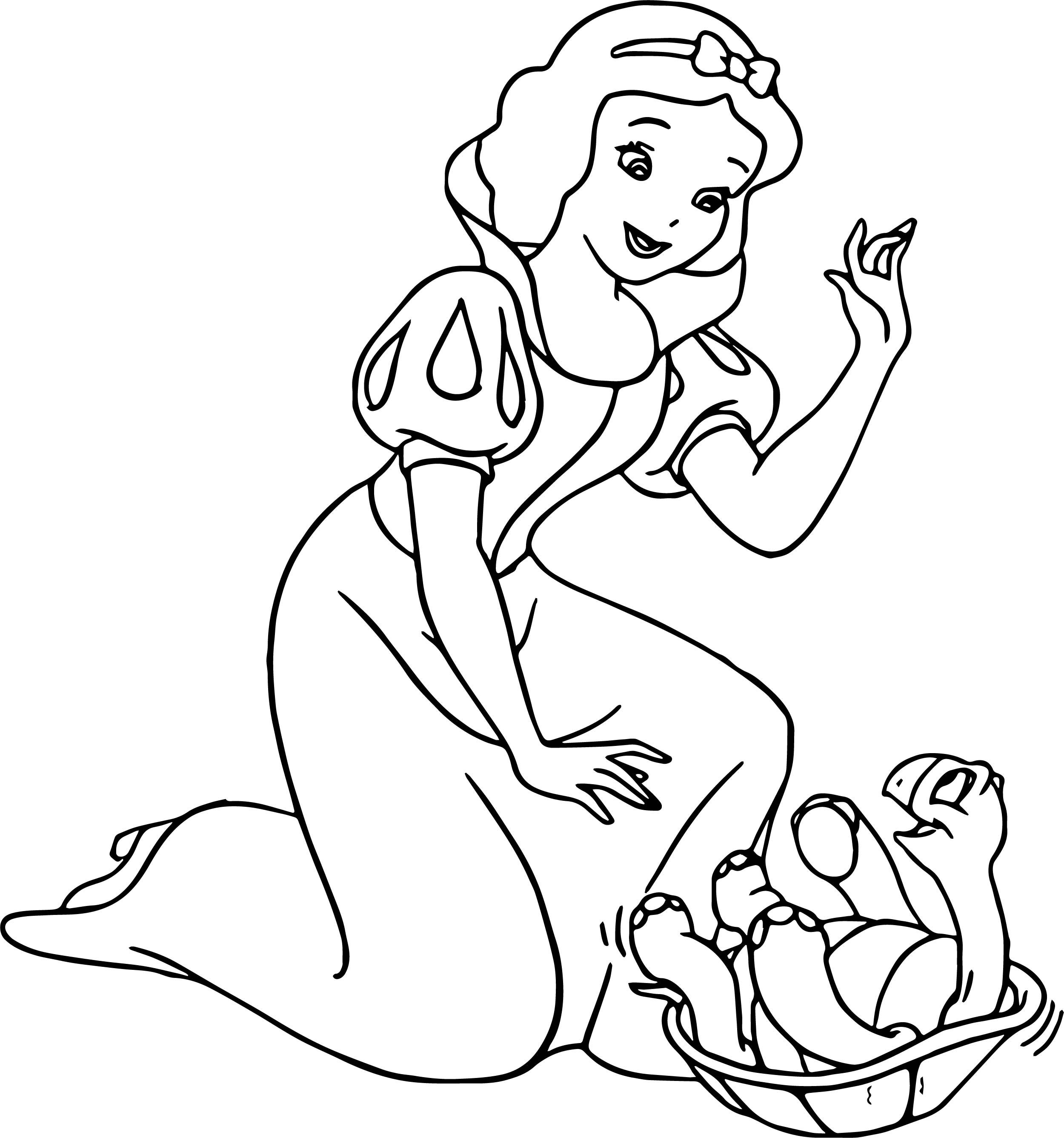 Cool Snow White Turtle Coloring Page