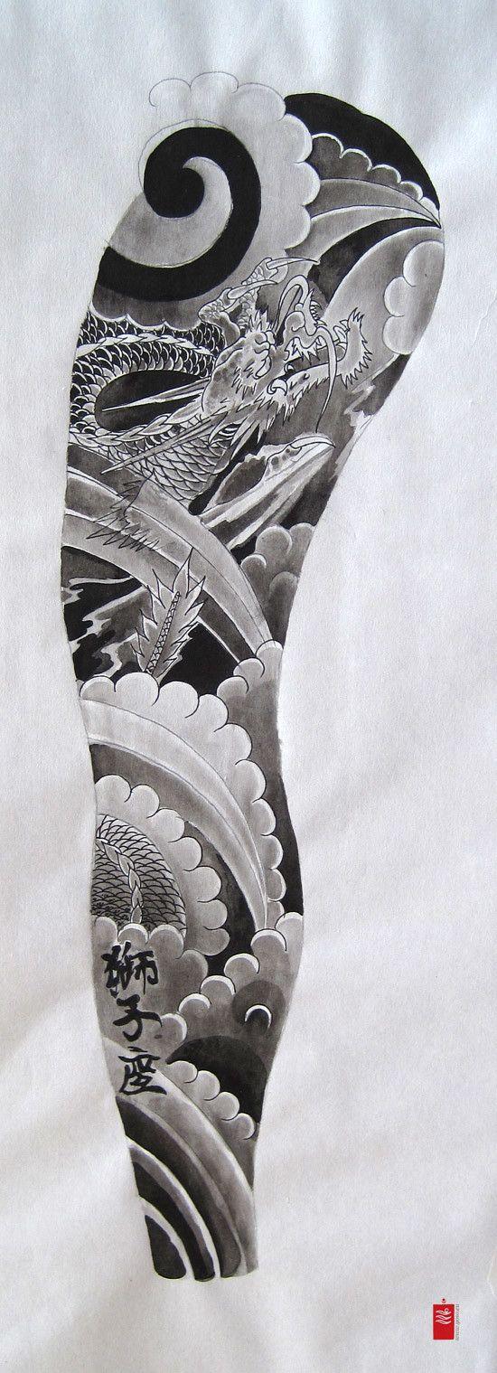 Dragon Sleeve Tattoo Flash Dragon sleeve tattoos, Dragon
