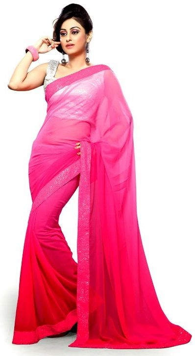 e4f06a682b Best Farewell #Sarees from #Snapdeal for College Graduates - De Marca Pink  Faux Georgette Border Work Appealing Saree