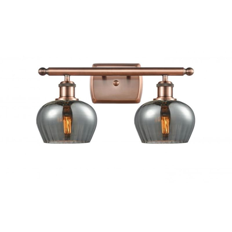 Photo of Innovations Lighting 516-2W Fenton Fenton 2 Light 16″ Wide Vanity Light Antique Copper / Plated Smoke Indoor Lighting Bathroom Fixtures Vanity Light