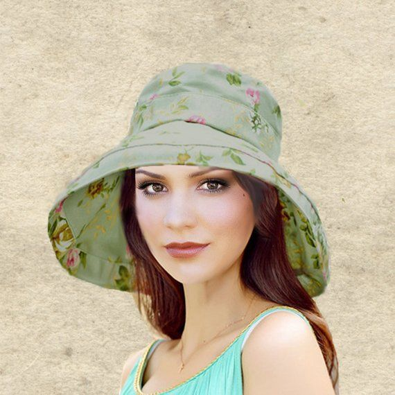 61dbb587a Sun boho hats, Womens cotton hat, Bohemian sun hat, Green sun hat women, Women's  summer hats, Wide brim sun hat, Brimmed hat lady, Beach hat