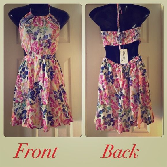 Beautiful new dress!! Beautiful brand new floral print dress!  Tags attached!  Open back!  Halter style! Olsenboye Dresses