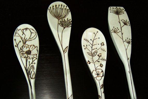 wood burned spoons, cute designs