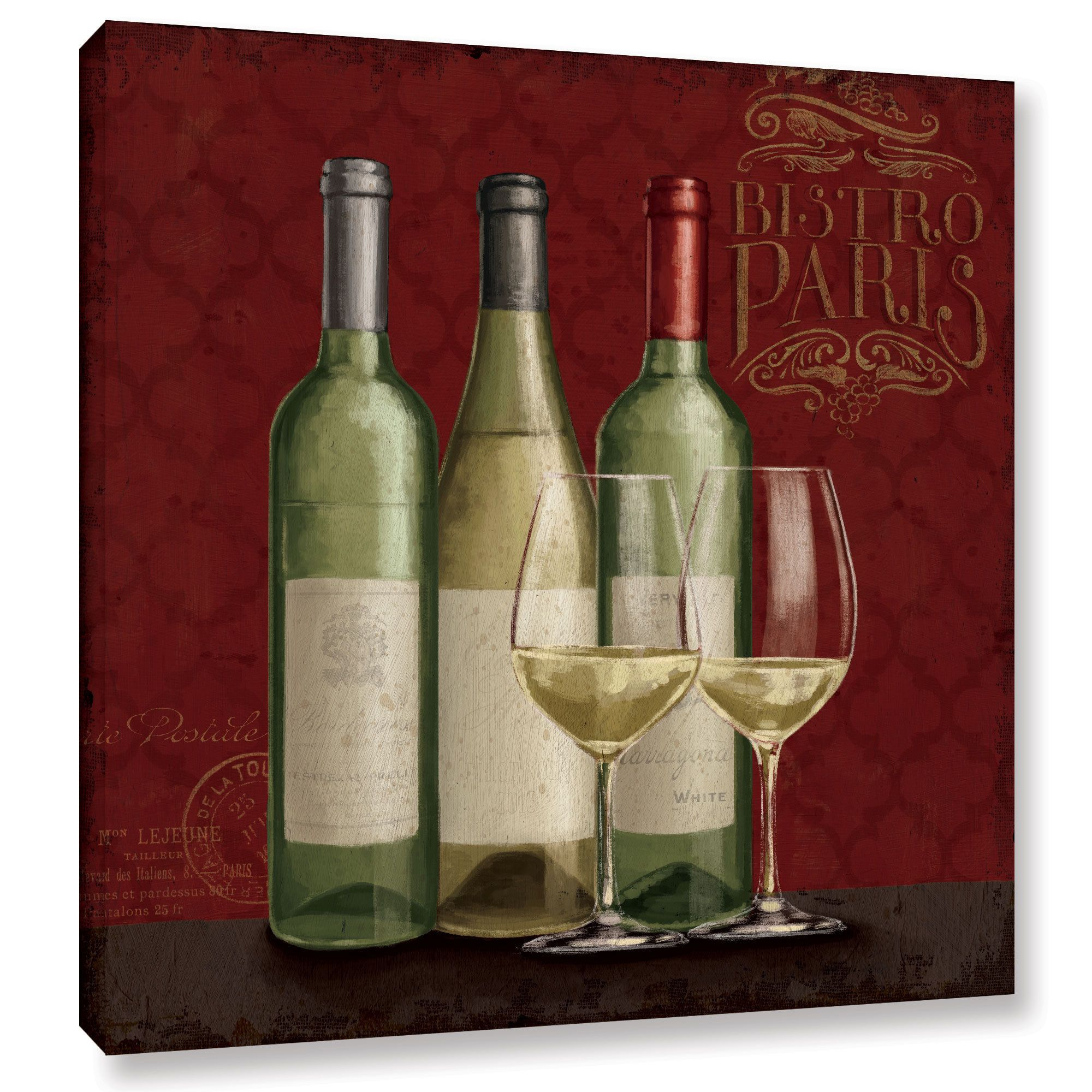 Janelle Penner S Bistro Paris White Wine V2 Gallery Wrapped Canvas White Wine Wine Painting Canvas Art