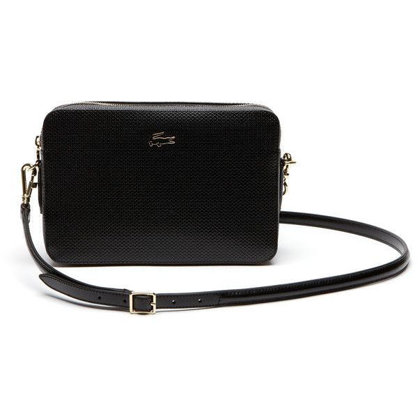 f1ff8ce6feb8b Black Women s Chantaco Piqué Leather Square Crossover Bag (€160) ❤ liked on  Polyvore featuring bags, handbags, lacoste, urban bag, leather bags, lacoste  ...