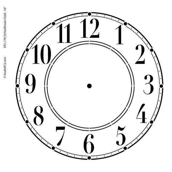 Zifferblatt selber drucken  DIY Clock Schoolhouse Clock Stencil Select Size by StudioR12 ...