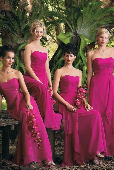 Vestidos para damas de honor fucsia
