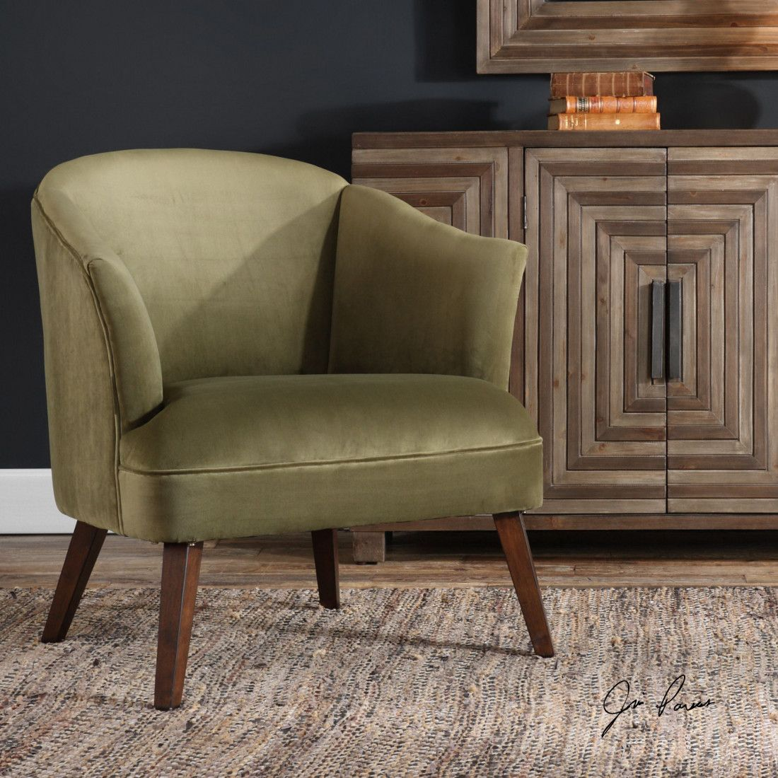 Conroy olive accent chair accent chairs chic accent