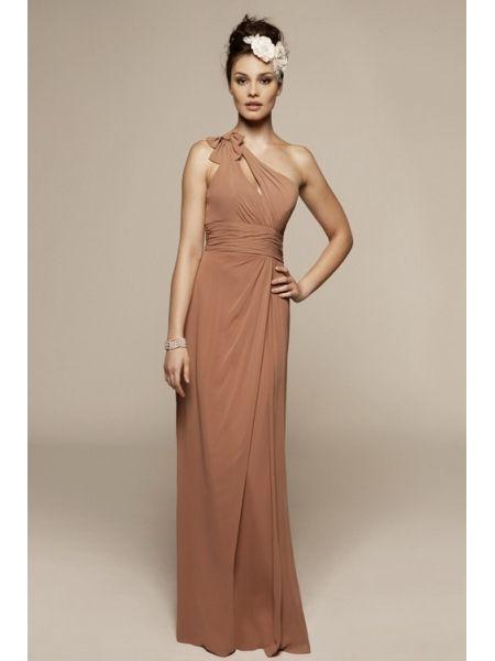 Lange Abschlussballkleider · Herbst Hochzeitskleider · braun  Brautjungfernkleid