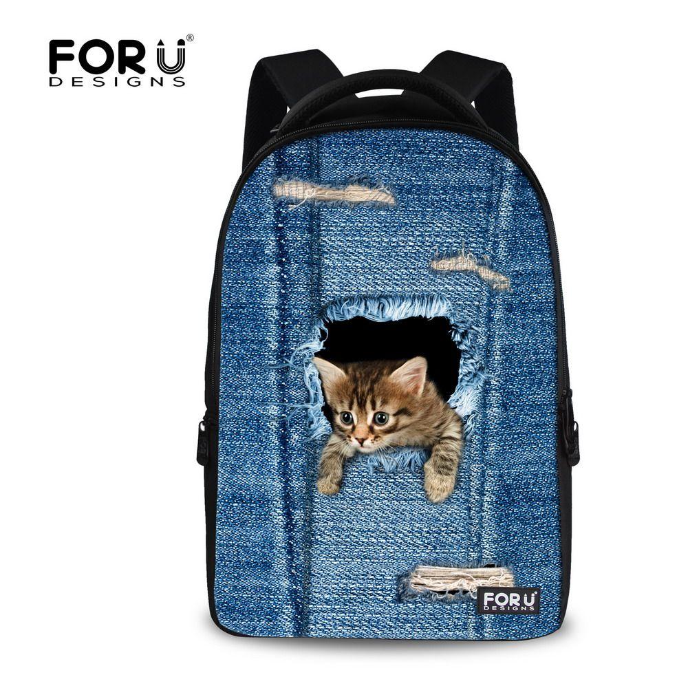 c40d655342ec FORUDESIGNS Children Denim Cat Dog School Bag Boys Girls 3D Printing Large  School Bags Kids Schoolbag