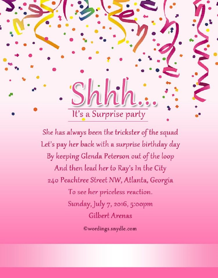 Pink Birthday Invitation Wording Samples