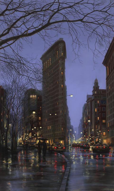 Rain in Flatiron Building, NYC | Photo-like painting, Artists : Evgeny Lushpin