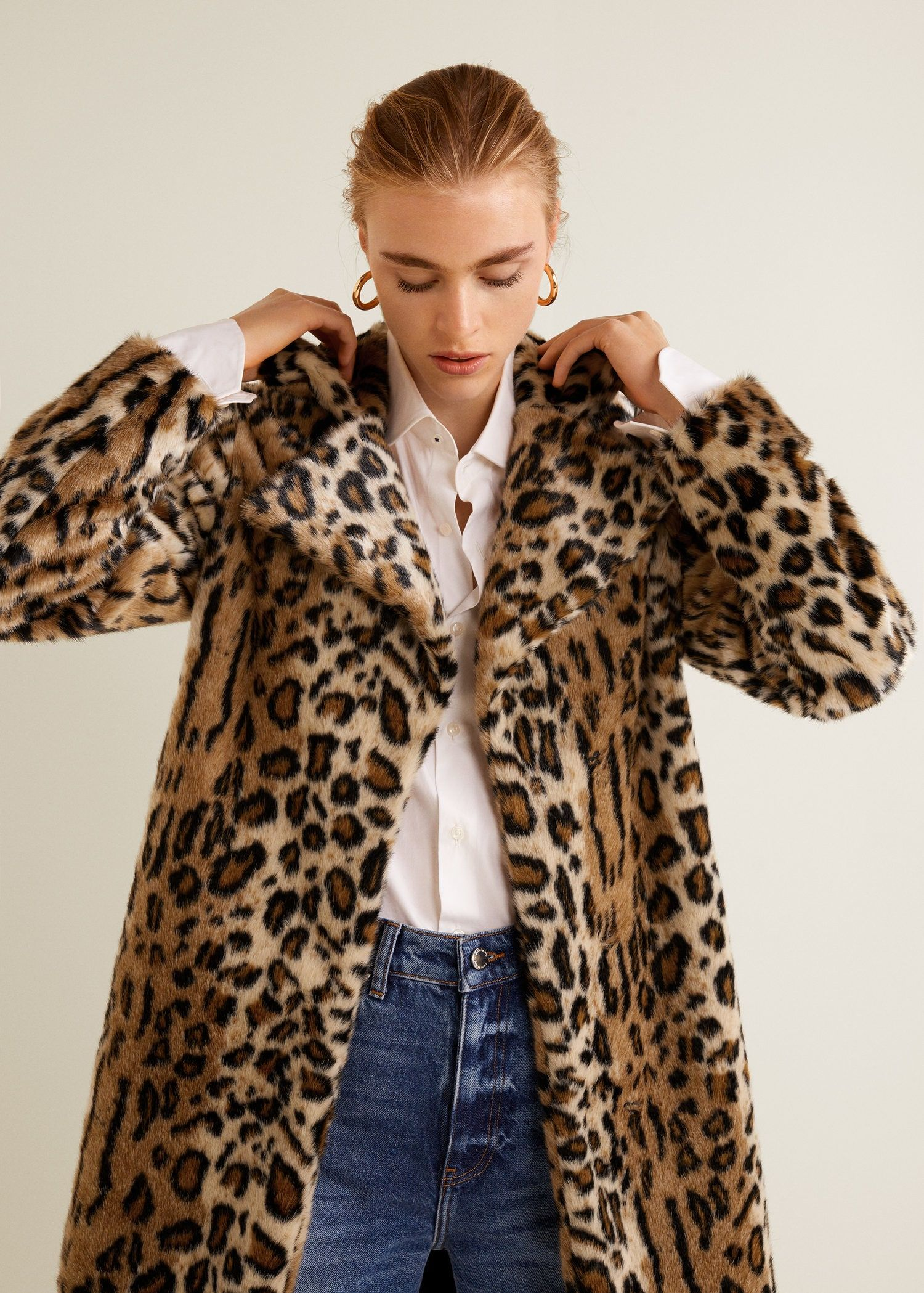 Womens Warm Leopard Print Lapel Faux Fur Short Coat Winter Parka Outerwear