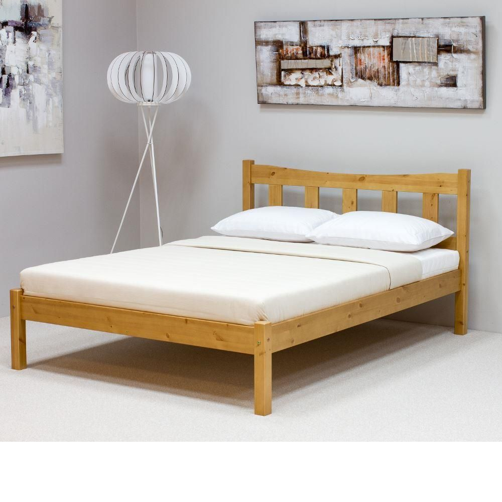 Wooden Bed Frame Only 4ft6 Double Poppy Antique Pine Wooden Bed