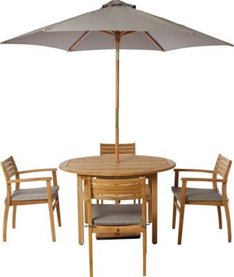 Homebase Malmo 4 Seater Round Teak Garden Furniture 299.99 | Garden ...