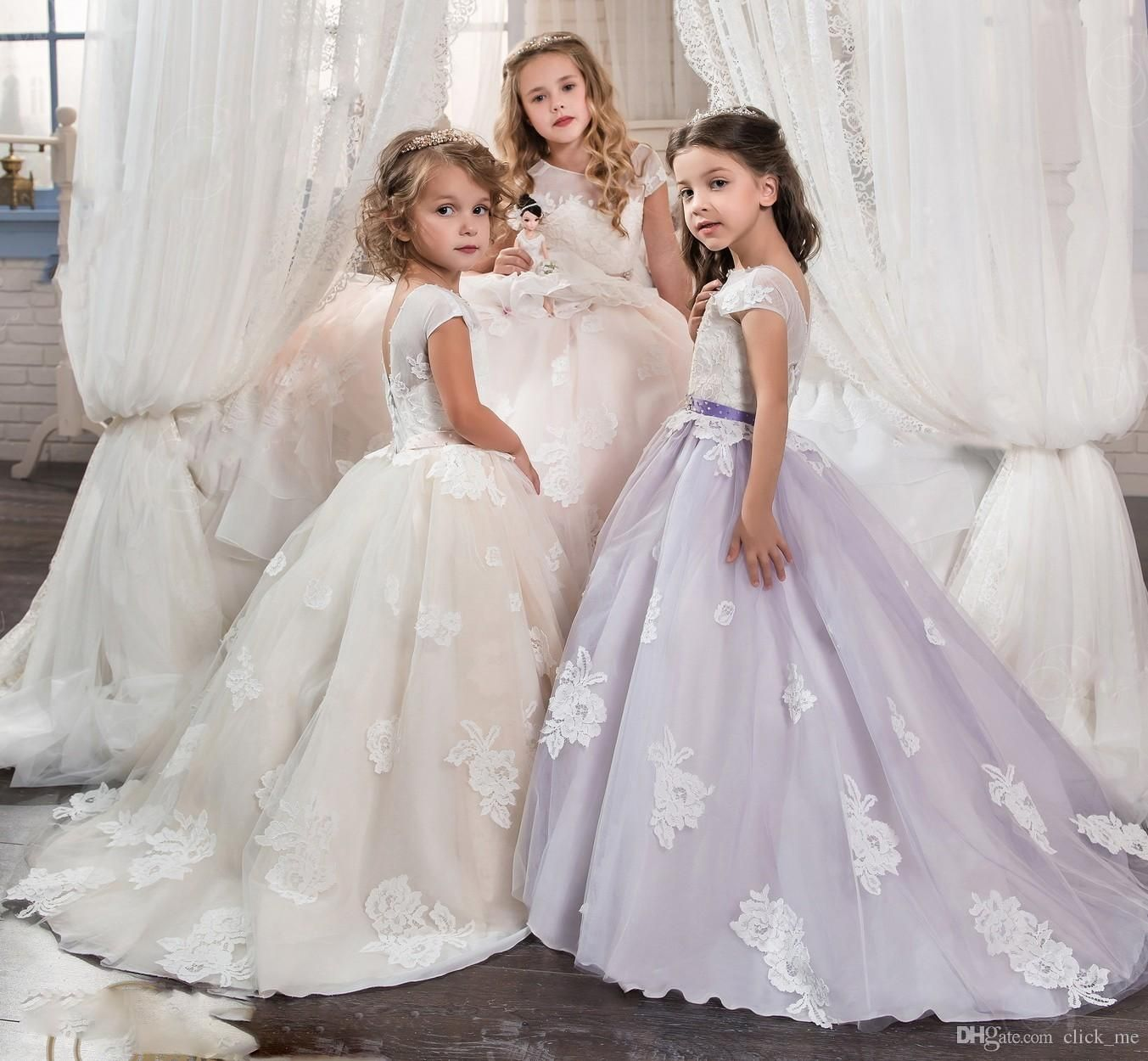 Vintage Lace Long Sleeves Flower Girls Dresses Ball Gown