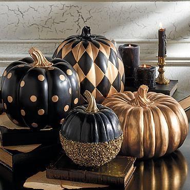 Halloween Pumpkins Decorations Black And Gold Glitter Pumpkins