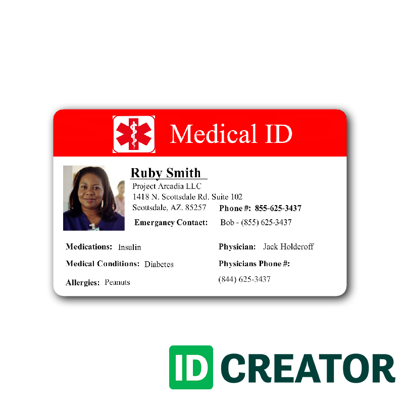 Medical Information Custom Id Badge 1 Id Card Template Card Template Card Templates
