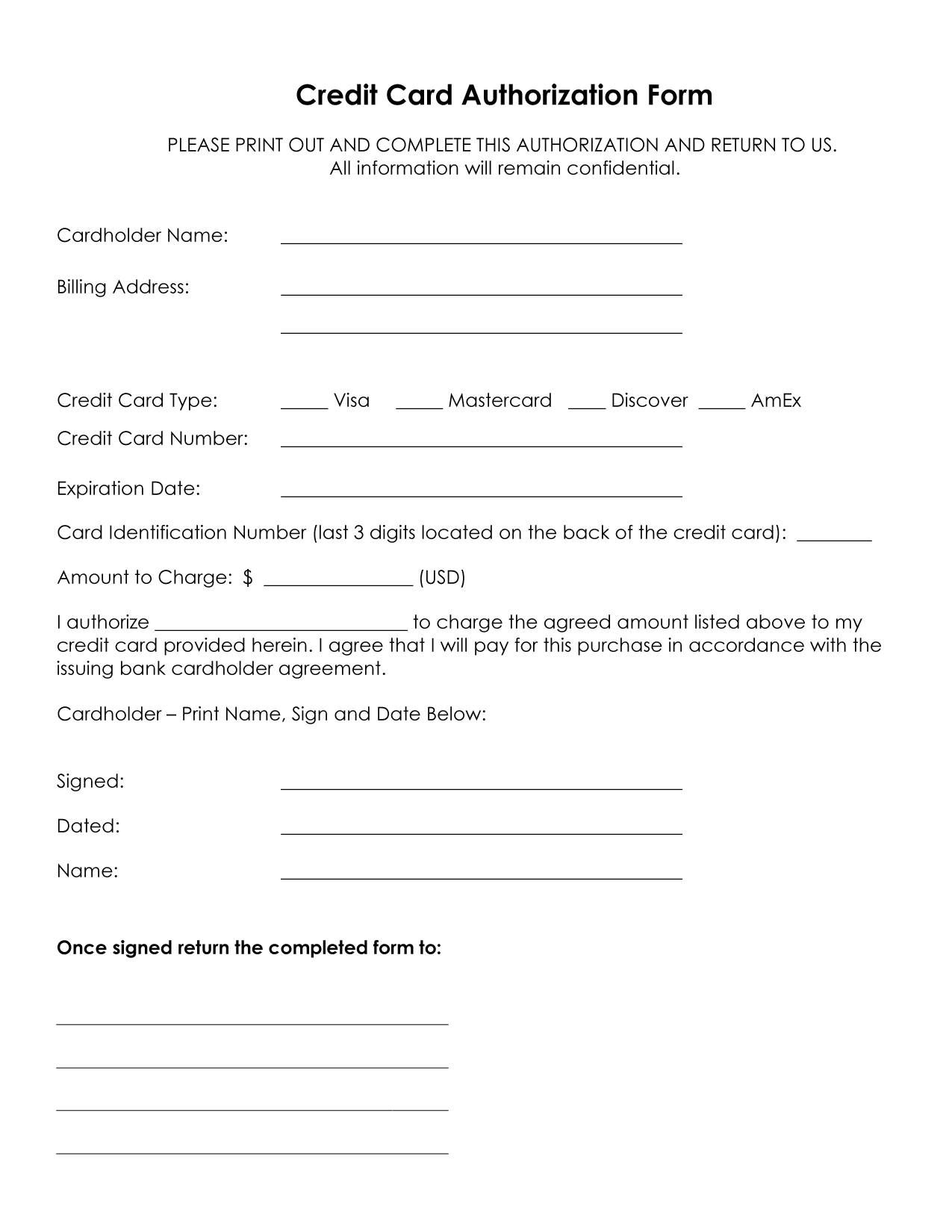 Cool Credit Card Authorization Form Sample For Printing  Business