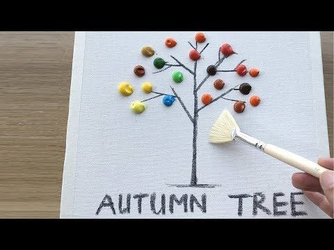 Daily Challenge #10 / Acrylic / Easy Autumn Tree Landscape Painting - YouTube