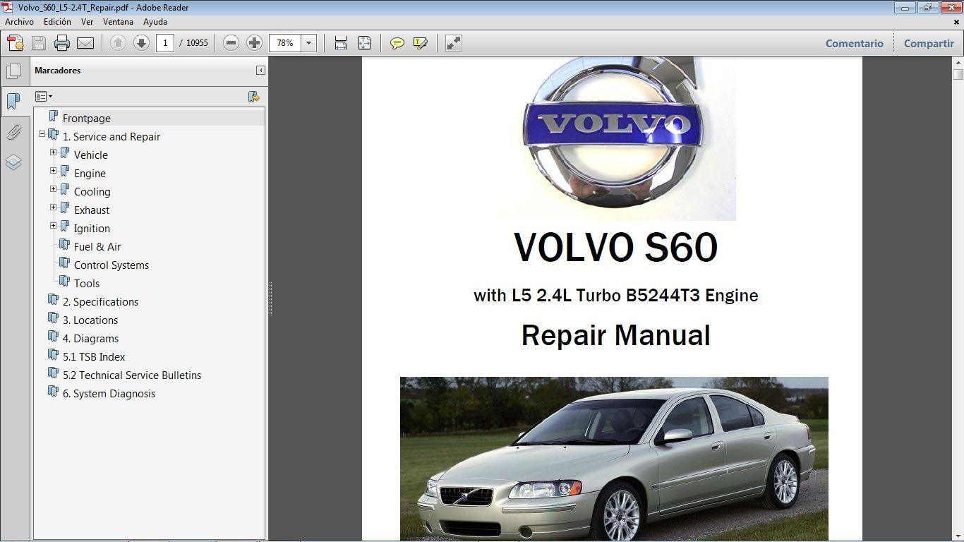 Volvo S60 2 4 Workshop Repair Manual Manual De Taller Volvo S60 Volvo Repair Manuals