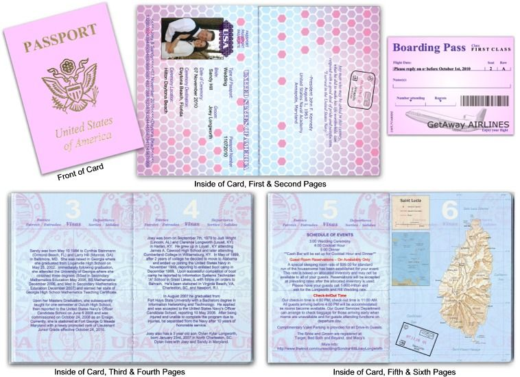 vintage journey of love passport wedding invitation. custom ...