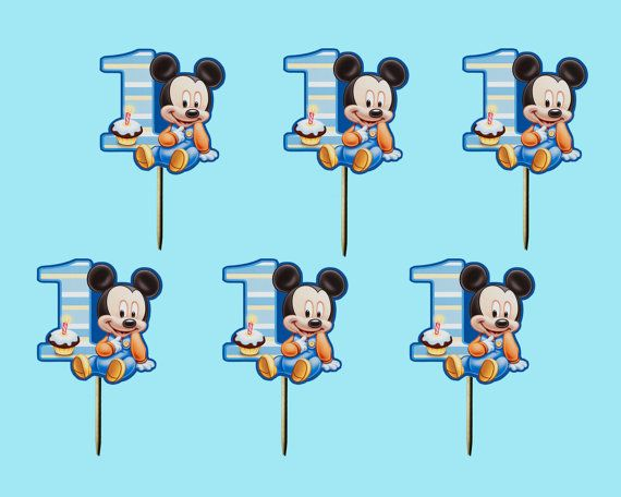 Bebe Mickey Mouse Cupcake Toppers Magdalena De La Seleccion Etsy Baby Mickey Mouse Mickey Mouse Cupcakes Baby Mickey