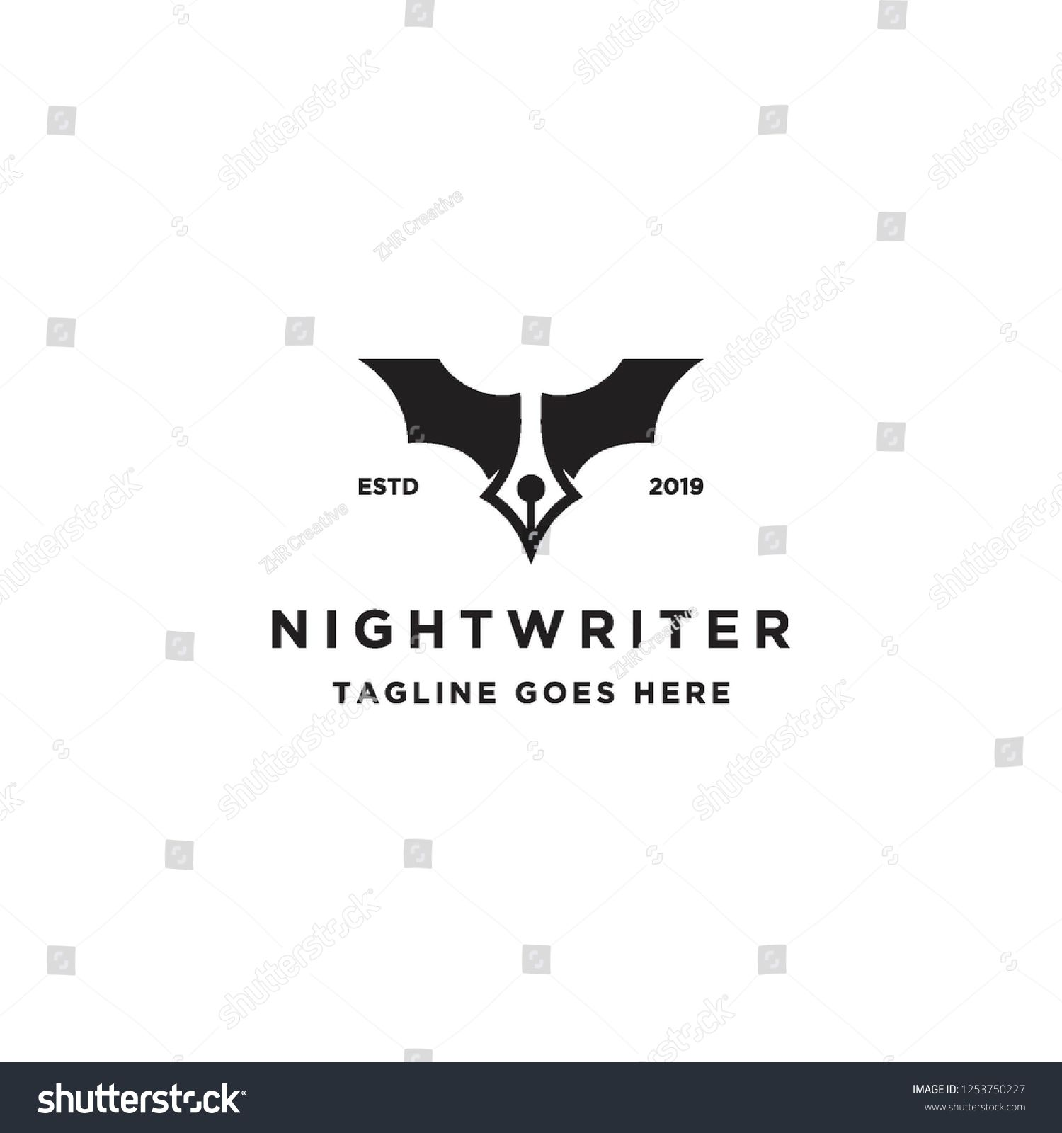 negative space pen with bat wings for night writer logo