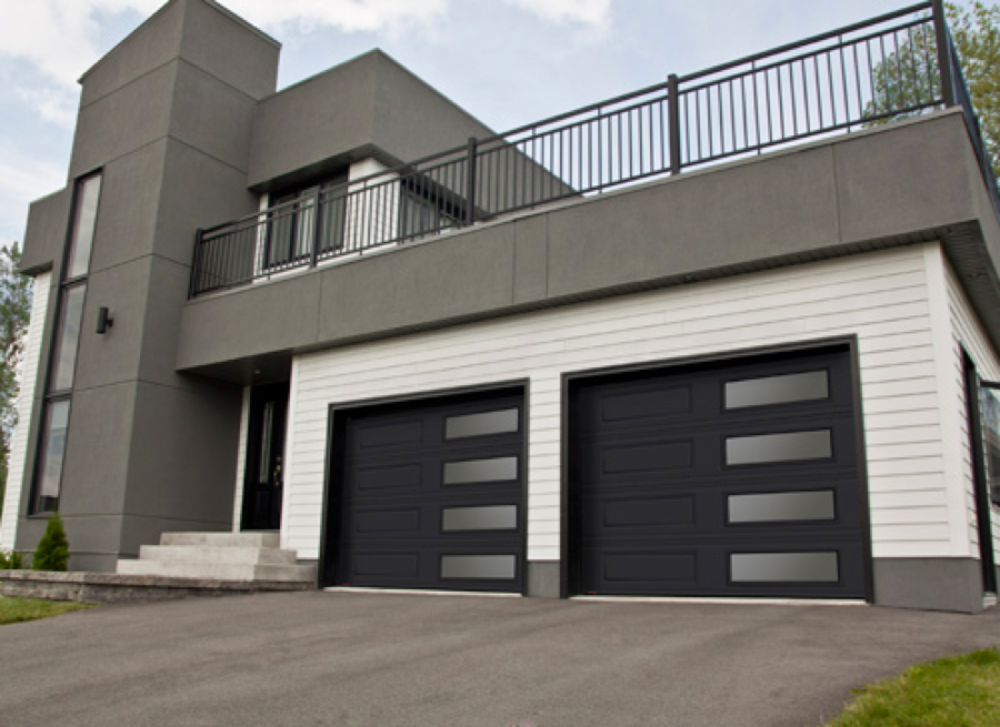 Contemporary Black Garage Doors With Glass Also White Wooden Wall
