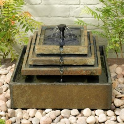 Beautiful Slate Tiered Solar Fountain Water Feature.