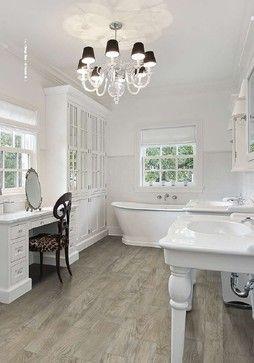 vintage wood porcelain series transitional bathroom | tile