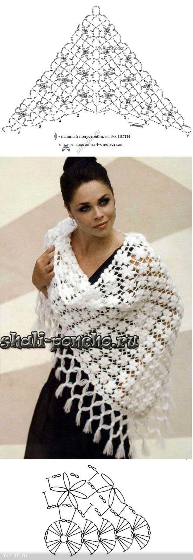 Fiori scialle crochet gross | Tejido | Pinterest | Chicas, Chal y ...
