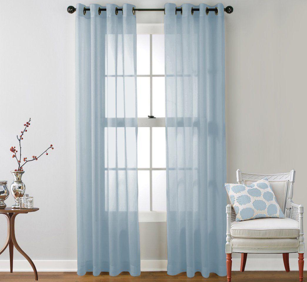 Amazon.com: HLC.ME Sheer Voile Curtain Panels - Window Treatment ...