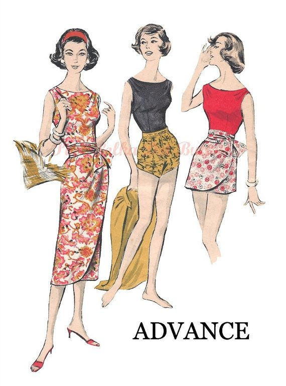 Vintage 1950s Advance 8634 Misses Draped Wrap Around Sarong Skirt or ...