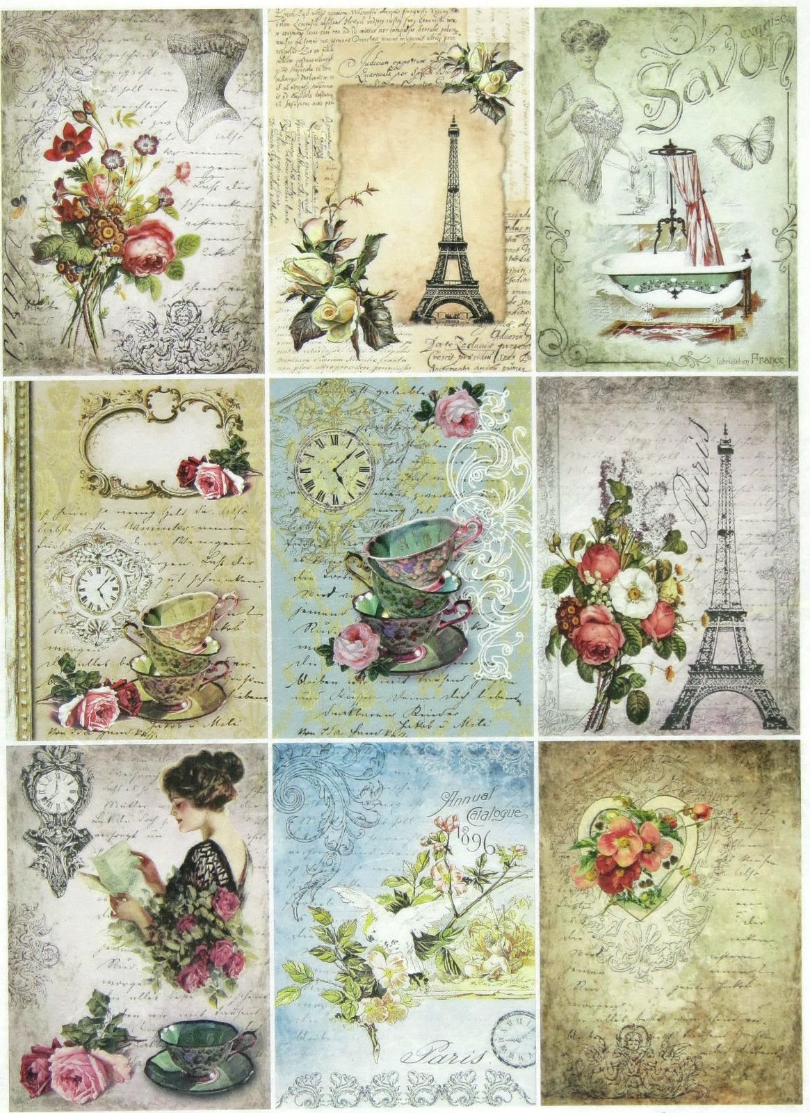 Rice Paper for Decoupage Scrapbook Craft Sheet Alice Cards
