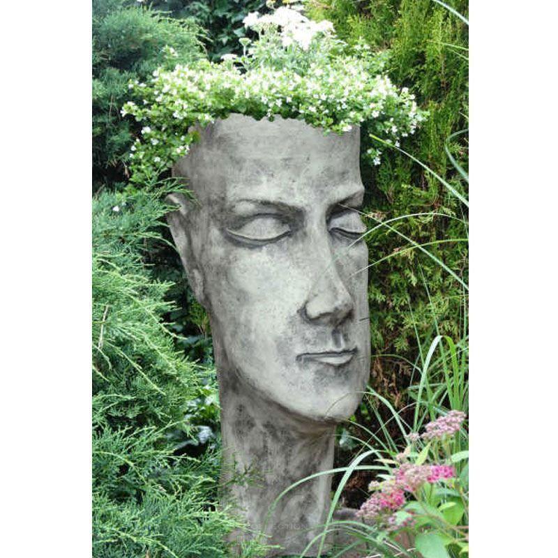 Steinfiguren Garten details zu pflanzgefäß gesicht kopf frau 82 cm steinguss stein