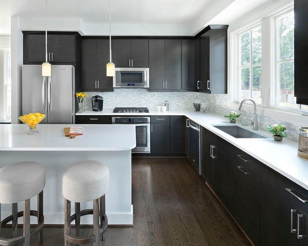 Black And White Themed Kitchen Modern Style Contemporary Kitchen
