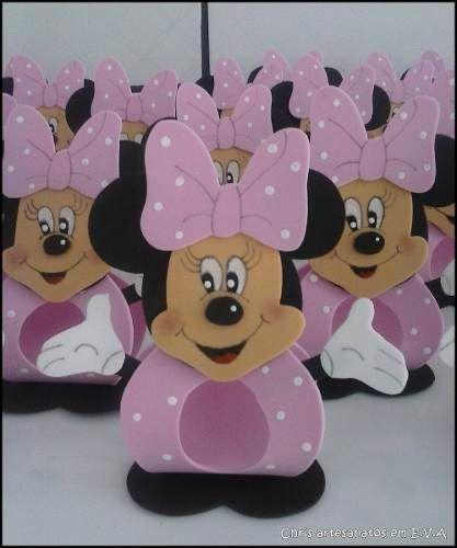 Lembrancinha Porta Bombom Minnie Vermelha Ou Rosa Kit Com 10 - R$ 20,00