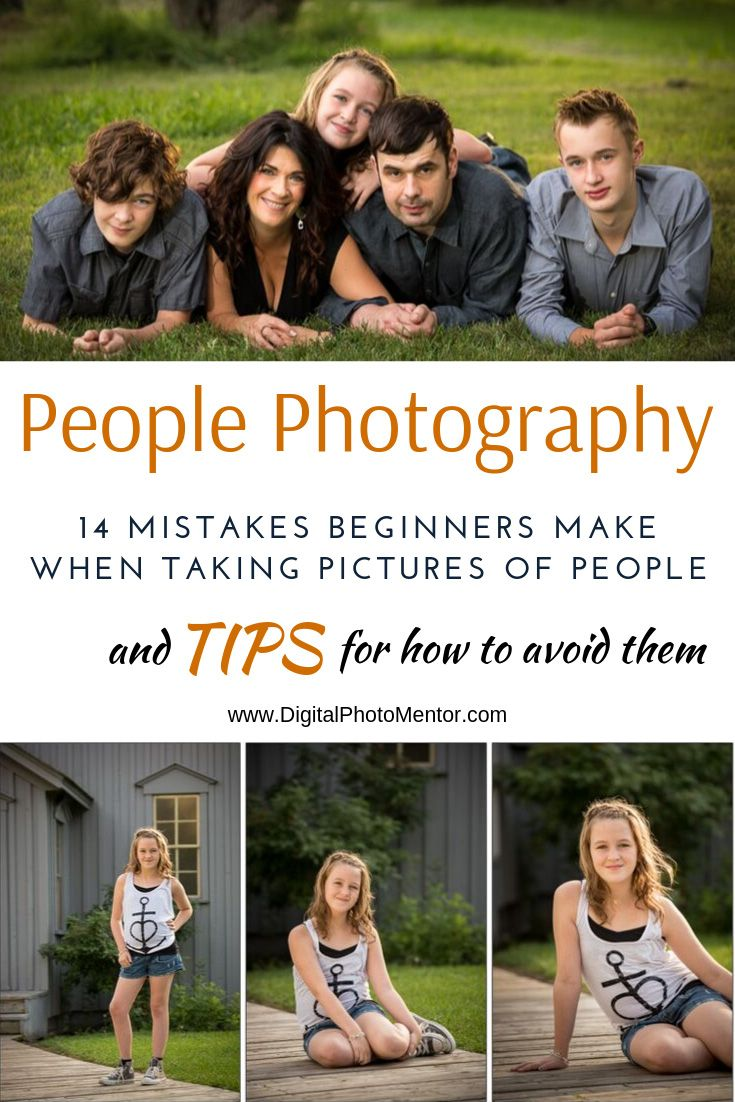 14 people photography tips for beginners so they can avoid making the same common mistakes. Learn about camera settings, lighting, proper lens selection for portraits.
