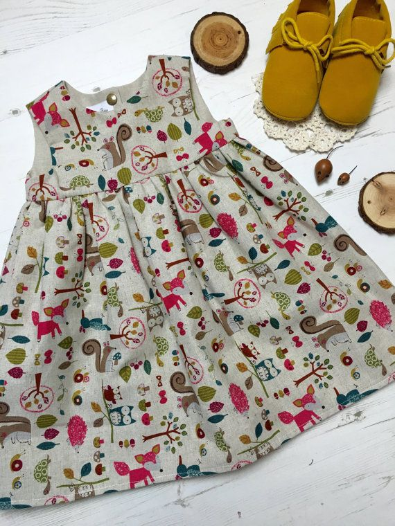 Girls woodland animal dress, 0-6 years