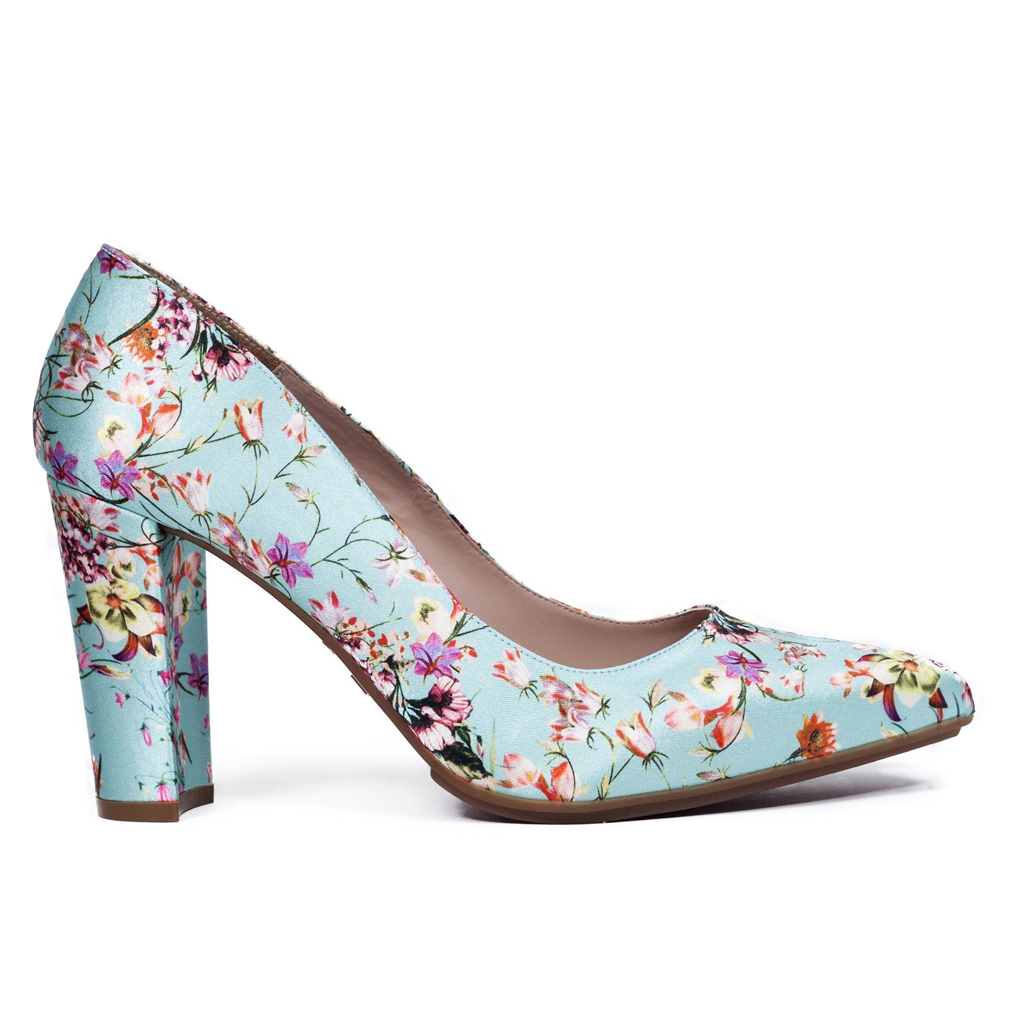 Zapato de salón tacón bajo mujer VERDE AGUA FLORES – miMaO Online – miMaO  ShopOnline 340b8ad4b3dd