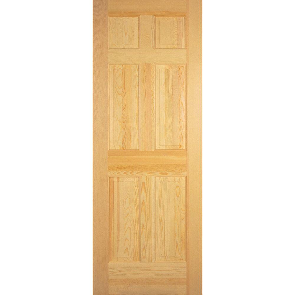 Builder S Choice 36 In X 80 In 6 Panel Solid Core Unfinished Clear Pine Single Prehung Interior Door Prehung Interior Doors