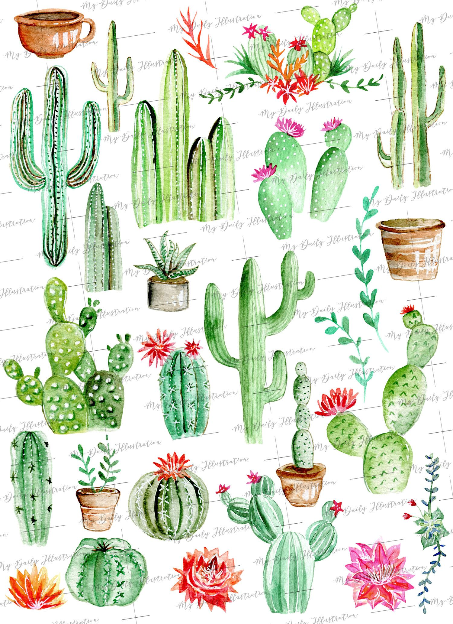 Watercolor Cactus In Pot And Cacti Flower Clipart Set For Design